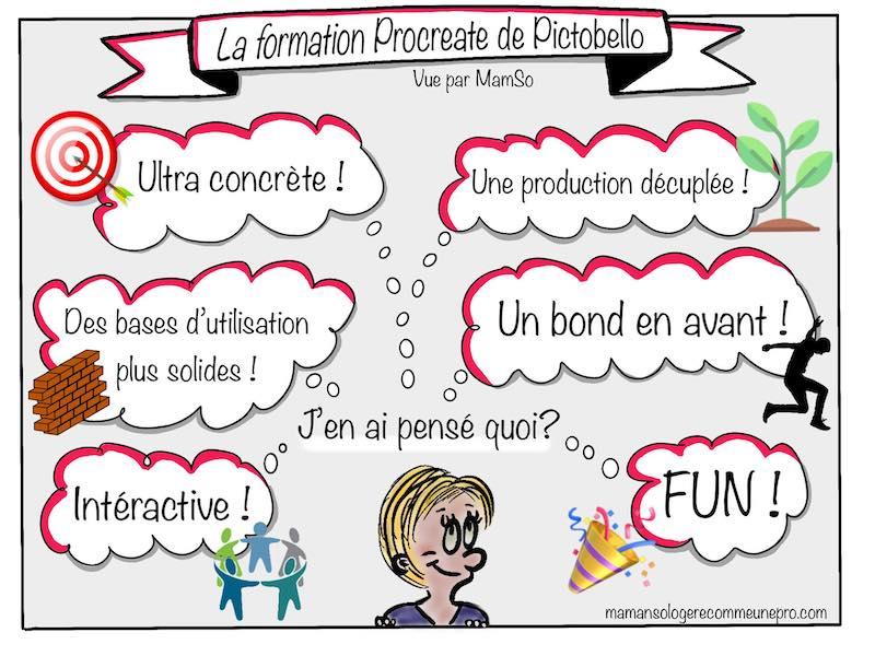 Réalisation de Mélanie Pigeolet pour résumer la formation Procreate animée par Pictobello.com